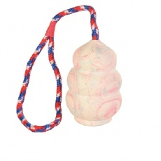 Gummi Handgranate am Seil, klein - 8 cm