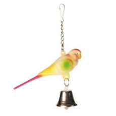 Spielzeug für Vögel - Zwergpapagei mit Glöckchen - 9 cm