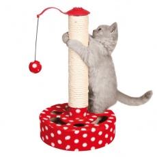 Kratzeisen für Katzen mit einem Spielzeug