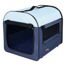 Hundetransportbox beige-blau, 50 x 50 x 60 cm