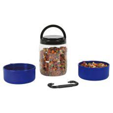 Reisebox für Trockenfutter mit zwei Näpfen 750 ml