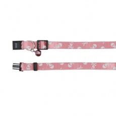 Halsband für Katzen, pink - Totenköpfe - 15 - 20 cm