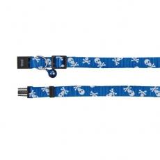 Halsband für Katzen, blau - Totenköpfe - 15 - 20 cm