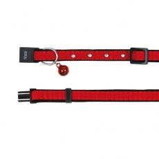 Halsband für Katze, rotes Sämischleder - 18 - 30 cm