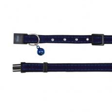 Halsband für Katze, blaues Sämischleder - 18 - 30 cm