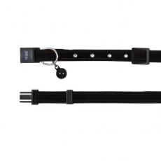 Halsband für Katzen, schwarzes Sämischleder - 18 - 30 cm