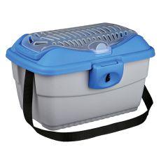 Transportbox für Nager mit dem Riemen - blau - silbern