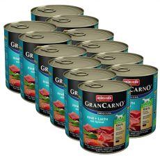 Nassfutter GranCarno Original Adult Rind + Lachs mit Spinat - 12 x 800g