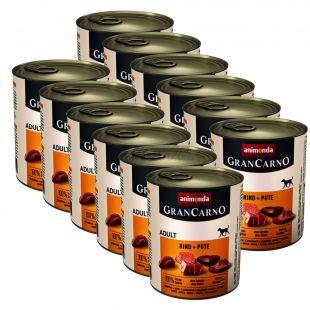 Dose GranCarno Fleisch Adult Rindfleisch + Putenfleisch - 12 x 800 g