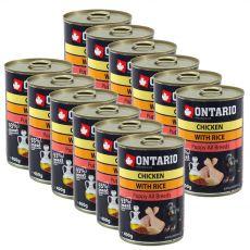 Dose ONTARIO Puppy für Hund, Hühnerfleisch, Reis und Öl - 12 x 400g