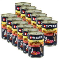 Dose ONTARIO für Hund, Wildfleisch, Preiselbeeren und Öl - 12 x 400g