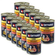 Dose ONTARIO  für Hund, Lammfleisch, Reis und Öl- 12 x 400g