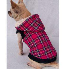 Jacke für Hunde - kariert, dunkelpink, L