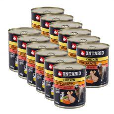 Dose ONTARIO für Hund mit Huhn, Karotte und Öl - 12 x 800g