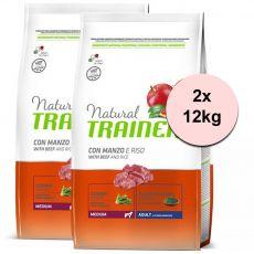 Trainer Natural Adult Medium, Rind und Reis 2 x 12kg