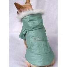 Hundemantel mit Tasche - grün, L