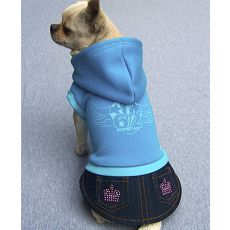 Sweatshirt mit Jeansrock für Hunde - blau, XXL