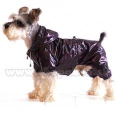 Regenmantel für Hunde zweischichtig - violettbraun, S