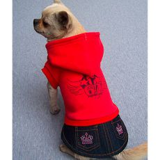 Sweatshirt mit Jeansrock für Hunde - rot, XXL