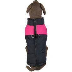 Jacke für große Hunde schwarz-pink L-XL