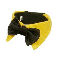 Hundefliege - schwarz mit gelbem Kragen, S