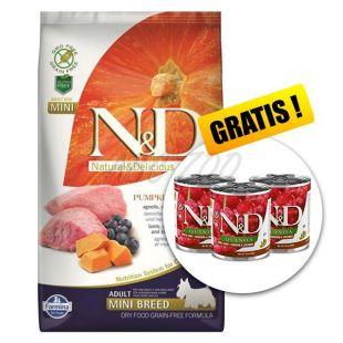 Farmina N&D dog GF PUMPKIN adult mini, lamb & blueberry – 7kg + GESCHENK