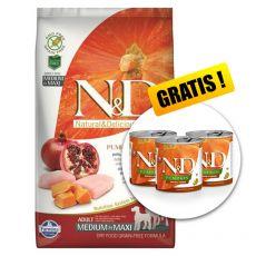 Farmina N&D dog GF PUMPKIN adult medium/maxi, chicken & pomegranate - 12kg + GESCHENK