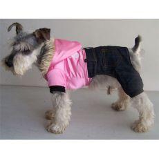 Hundejacke - glänzend pink mit Hosen, XL