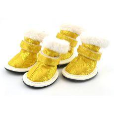 Schuhe für Hunde - goldfarben, gestickt - Gr. 5