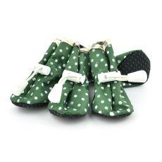 Hundeschuhe grün, gepunktet - Gr. 5