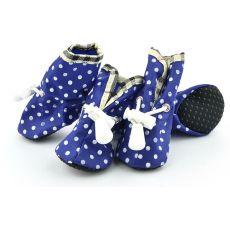 Hundeschuhe blau, gepunktet - Gr.4