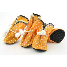 Hundeschuhe orange, gepunktet - Gr.1