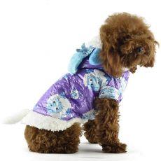Hundejacke - lila mit Schafbockmotiv, XS