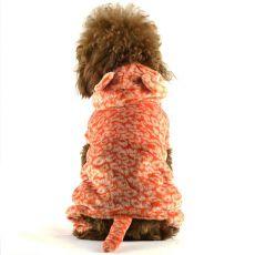 Hunde Overall - orange Leopard mit Schwanz, XS