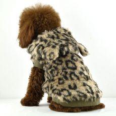 Pelzmantel für Hunde - Leopard mit Kapuze, XL