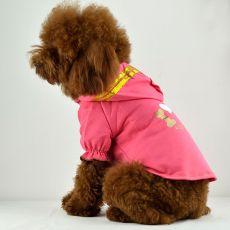 T-Shirt für Hunde - pink mit Kapuze und Aufschrift, XXL