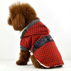Hundemantel - gepunktet, rot, mit Fellbesatz, L