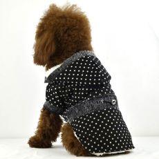 Mantel für Hunde - gepunktet, schwarz, mit Fellbesatz, XS