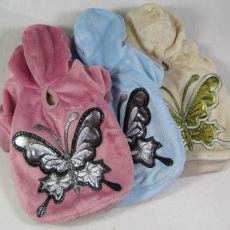 Hundesweater aus Plüsch mit Schmetterling, beige, XXL