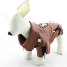 Kunstlederjacke für Hunde - braun mit Adler, XXS