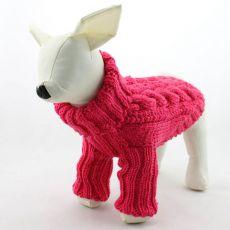 Hundepullover - gestrickt, dunkelpink, L