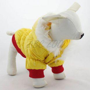 Hundejacke - rotgelb mit Kapuze, S