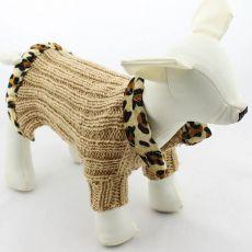 Strickpullover für Hunde - brauner Leopard, L