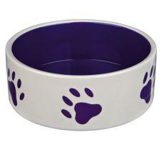 Hundenapf aus Keramik - lila Pfoten, Fassungsvermögen 1,4 l