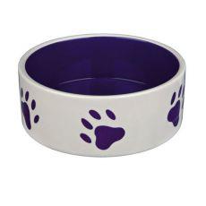 Keramiknapf für Hunde - lila Pfoten, Fassungsvermögen 0,8 l