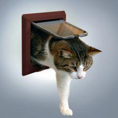 Katzenklappe braun mit 4-Wege-System