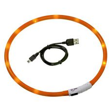 LED Halsband für Hunde DOG FANTASY - orange, 45 cm