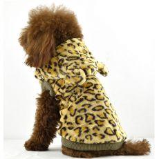 Pelzmantel für Hunde - Leopard mit Kapuze, golden, XL