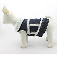 Jeansweste für Hunde - weißes Fell, S
