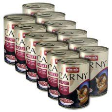 Futter CARNY ADULT mit Rinderherzen - 12 x 400 g